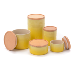 Le Creuset Soleil Stoneware 5 Piece Canister with Wooden Lid Set