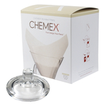 Chemex Glass Coffee Maker Cover and 100 Count Oxygen Cleansed Bonded Square Coffee Filters