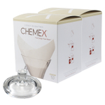 Chemex Glass Coffee Maker Cover and 200 Count Oxygen Cleansed Bonded Square Coffee Filters