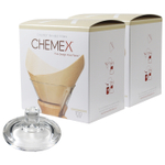 Chemex Glass Coffee Maker Cover and 200 Count Bonded Unbleached Pre-Folded Square Coffee Filters