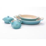 Le Creuset Heritage Caribbean Stoneware 2 Piece Au Gratin Dish Set with 2 Mini Cocottes