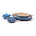 Le Creuset Heritage Marseille Blue Stoneware 2 Piece Au Gratin Dish Set with 2 Mini Cocottes