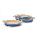 Le Creuset Heritage Marseille Blue Stoneware 4 Piece Nested Au Gratin Baker Dish Set