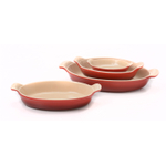 Le Creuset Heritage Cerise (Cherry Red) Stoneware 4 Piece Nested Au Gratin Baker Dish Set