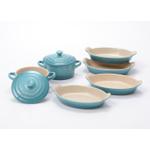Le Creuset Heritage Caribbean Stoneware Set of 4 Petite 6 Ounce Au Gratin Dishes with 2 Mini Cocottes