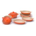 Le Creuset Heritage Flame Stoneware Set of 4 Petite 6 Ounce Au Gratin Dishes with 2 Mini Cocottes