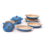 Le Creuset Heritage Marseille Stoneware Set of 4 Petite 6 Ounce Au Gratin Dishes with 2 Mini Cocottes