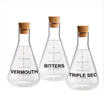 Artland Mixology 3 Piece Vermouth, Triple Sec, and Bitters 10 Ounce Decanter Set with Cork Stoppers