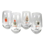 Artland Tidings Holiday 16 Ounce Stemless Wine Glass, Set of 4