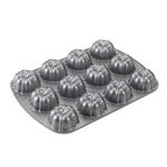 Nordic Ware Cast Aluminum 12 Cavity Mini Bundt Brownie Pan
