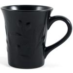 Matte Black Stoneware Embossed Olive Leaf Mug