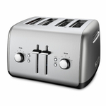 KitchenAid KMT4115CU Contour Silver 4-Slice Long Slot Toaster with Manual High Lift Lever