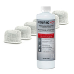 Keurig 6 Pack of Water Filter Cartridges and Bottle of Descaling Solution