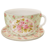 French Rose Cup and Saucer Tea Bag Cozy Set