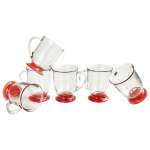 Anchor Hocking Glass 16 Ounce Cafe Mug with Red Foot