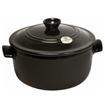 Emile Henry Flame Charcoal Ceramic 7 Quart Round Stewpot