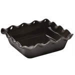 Emile Henry Charcoal Ceramic 1.8 Quart Square Ruffled Baking Dish