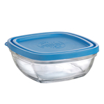Duralex Lys Tempered Glass 20 Ounce Square Storage Bowl with Blue Lid