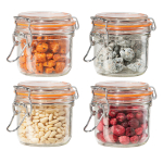 OGGI Glass Round 4 Piece Canister Set with Orange Silicone Gasket Clamps