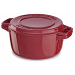 KitchenAid KCPI40CRER Professional Empire Red Cast Iron 4-Quart Casserole Dish with Lid