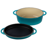 Le Creuset Caribbean Cast Iron 4.75 Quart Oval Oven with Reversible Grill Pan Lid