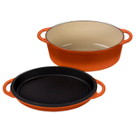 Le Creuset Flame Cast Iron 4.75 Quart Oval Oven with Reversible Grill Pan Lid