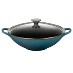 Le Creuset Marine Enameled Cast Iron 5 Quart Wok with Glass Lid