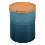 Le Creuset Marine Enameled Stoneware 22 Ounce Canister with Wood Lid