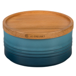 Le Creuset Marine Enameled Stoneware 23 Ounce Canister with Wood Lid