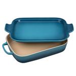 Le Creuset Marine Stoneware Rectangular Baking Dish with Platter Lid