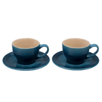 Le Creuset Marine Stoneware Cappuccino Cup and Saucer Set, Service for 2