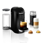 Breville Nespresso VertuoPlus Deluxe Piano Black Espresso and Coffee Machine Bundle with Aeroccino Milk Frother