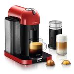 Breville Nespresso Vertuo Red Espresso and Coffee Machine Bundle with Aeroccino Milk Frother