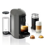 Breville Nespresso VertuoPlus Gray Espresso and Coffee Machine Bundle with Aeroccino Milk Frother