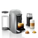 Breville Nespresso VertuoPlus Deluxe Silver Espresso and Coffee Machine Bundle with Aeroccino Milk Frother