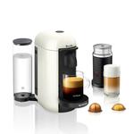 Breville Nespresso VertuoPlus White Espresso and Coffee Machine Bundle with Aeroccino Milk Frother