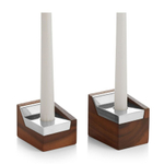 Nambe Geo Wood and Alloy Sabbath Candlestick Pair
