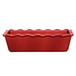 Emile Henry Burgundy Ceramic 1.4 Quart Small Ruffled Loaf Dish