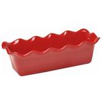 Emile Henry Burgundy Ceramic Large Ruffled Loaf Dish