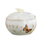 Lenox Butterfly Meadow Porcelain 4 Inch Covered Round Jewelry Box