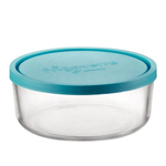 Bormioli Rocco Frigoverre Classic Glass 42.25 Ounce Round Container with Teal Lid