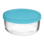 Bormioli Rocco Frigoverre Classic Glass 10.25 Ounce Round Container with Teal Lid