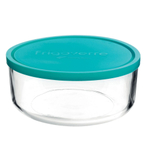 Bormioli Rocco Frigoverre Classic Glass 88 Ounce Round Container with Teal Lid