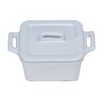 O-Ware White Stoneware Mini Square Baker with Lid