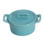 O-Ware Turquoise Stoneware Mini Round Baker with Lid