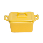 O-Ware Yellow Stoneware Mini Square Baker with Lid