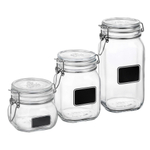 Bormioli Rocco Fido 3-Piece Chalkboard Glass Jar Set