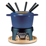 Swissmar Sierra Deep Blue Cast Iron 11 Piece Meat Fondue Set