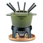 Swissmar Sierra Deep Green Cast Iron 11 Piece Meat Fondue Set