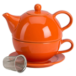 Omniware Orange Ceramic Tea for One with Infuser
